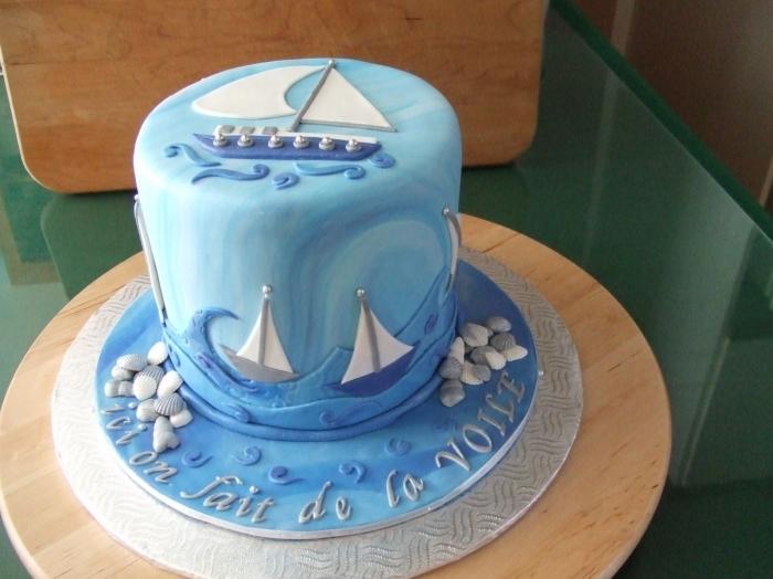 cake design bleu avec des voiliers - 13/01/2018