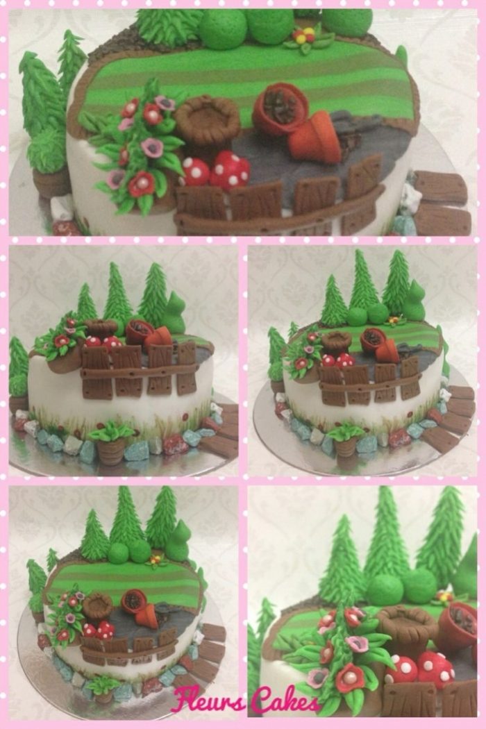 Cake Design De La Nature Avec Des Sapins Et Des Fleurs 06 09 2018