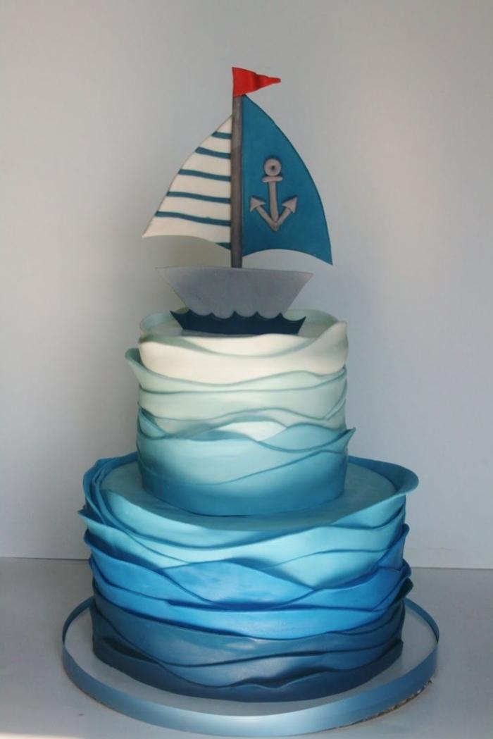 splendide gâteau marin avec des vagues et son voilier - 14/01/2018