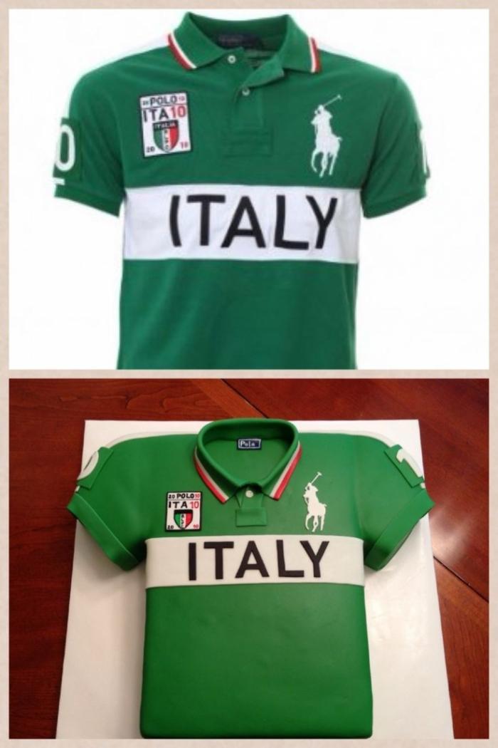 Gâteau vert Italy en forme de maillot pour un fan de polo - 27/01/2018