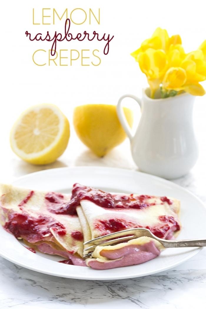 crêpe sucré - Recette Crêpe Citron au fromage blanc framboise