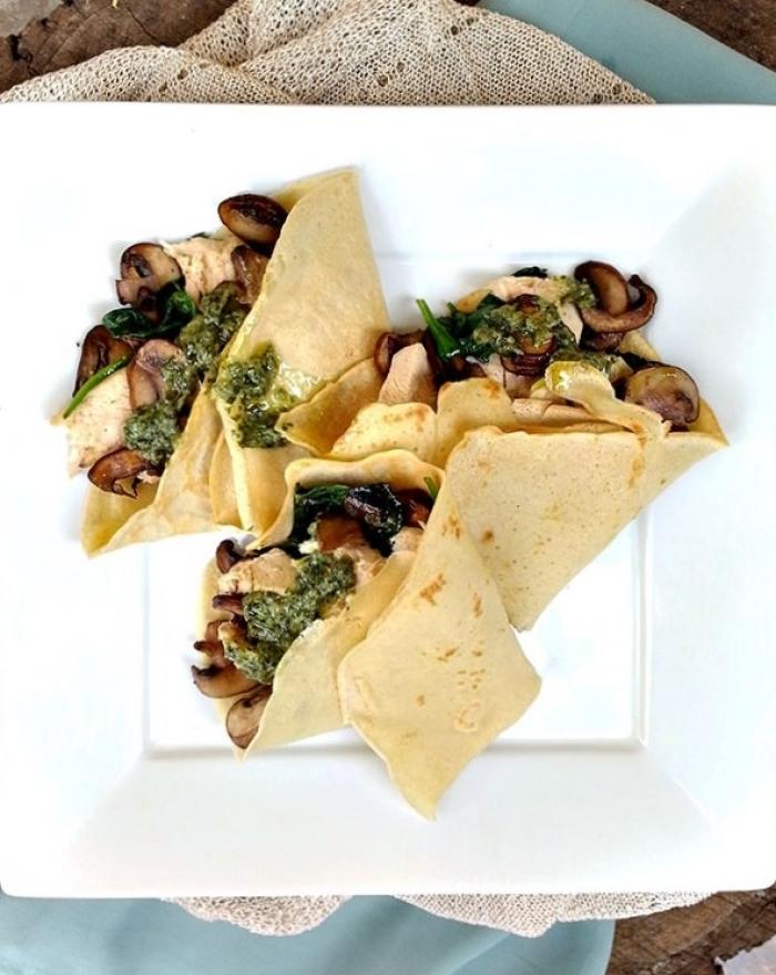 crêpe salé - Recette Crêpe Champignons Pesto