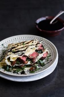 crêpe salé - Recette Crêpe Steak Epinards Champignons