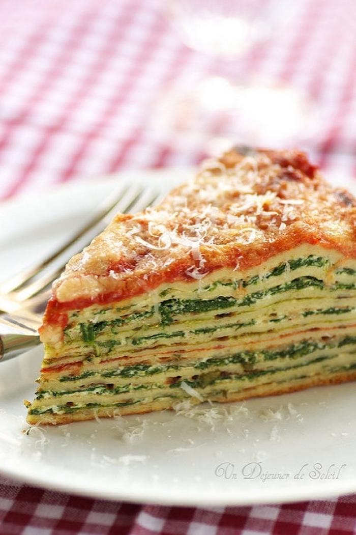 crêpe salé - Recette Crêpe Lasagne d'épinards et ricotta