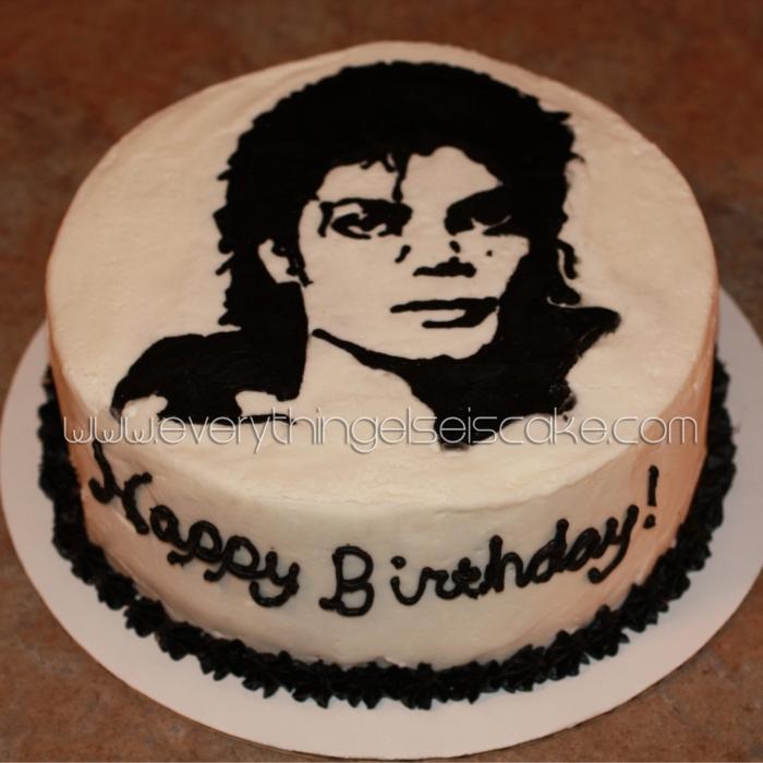 gâteau d'anniversaire de michael jackson noir et blanc - 14/01/2018