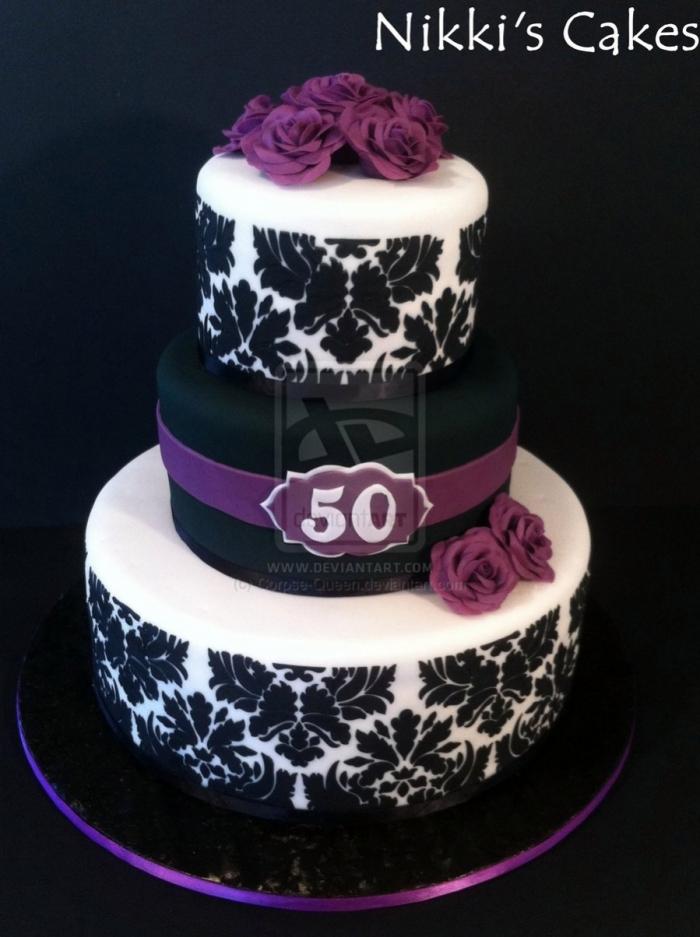 Splendide G Teau D 39 Anniversaire Noir Et Violet Pour Les 50 Ans De Votre Maman 27 03 2018