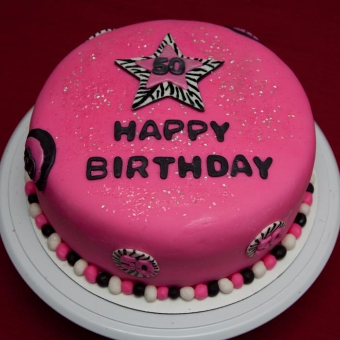 Top gâteau d'anniversaire rose avec des perles de couleur et une  JS07