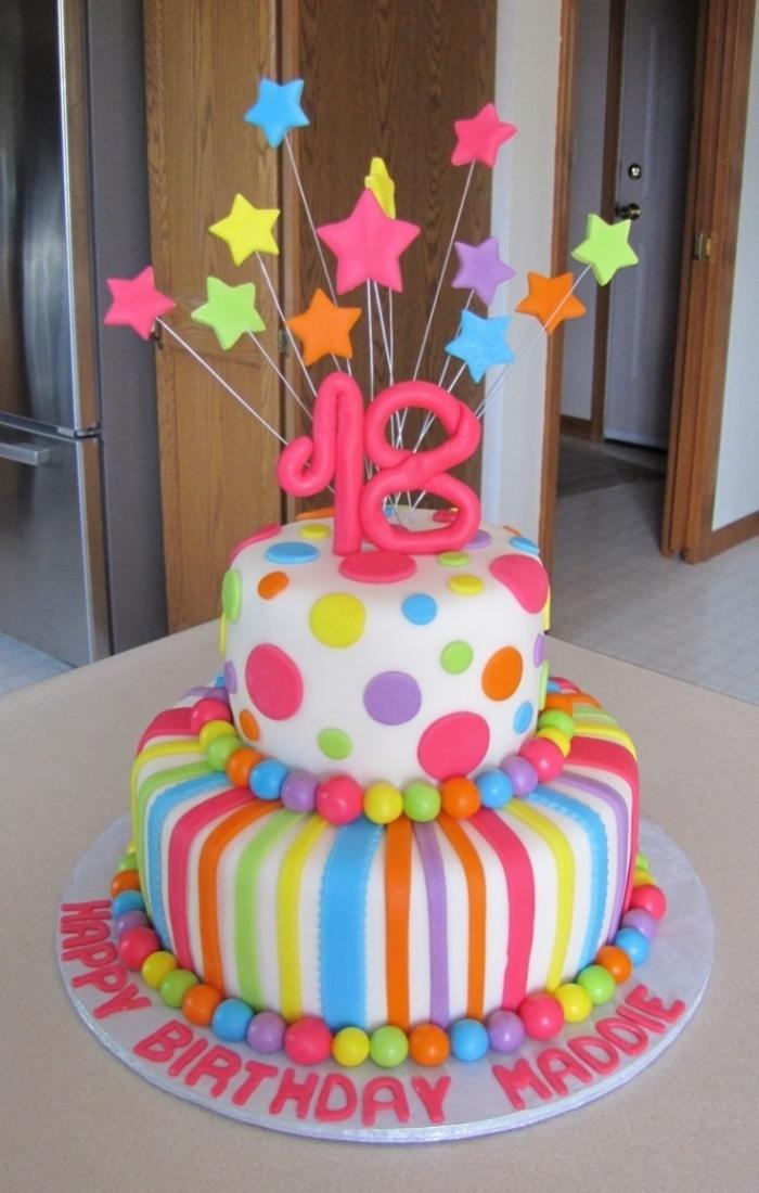 Gateau anniversaire multicolor