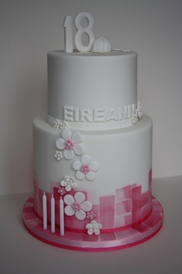 Gateau d\u0027Anniversaire , Superbe gâteau rose et blanc avec des fleurs pour  les 18 ans d\u0027une fille