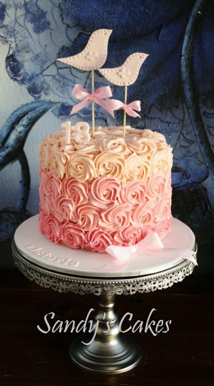 Populaire gâteau d'anniversaire en forme de fleurs de dégradé de couleurs  BD28