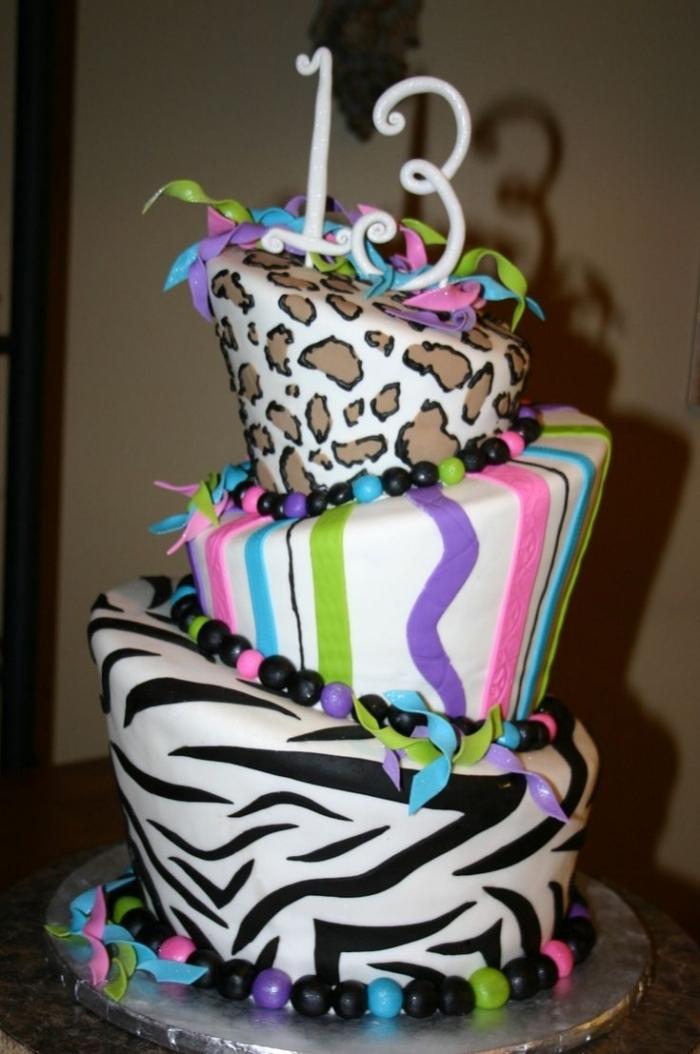 Decoration Anniversaire Zebre : G teau d anniversaire au décor léopard et zébré noir