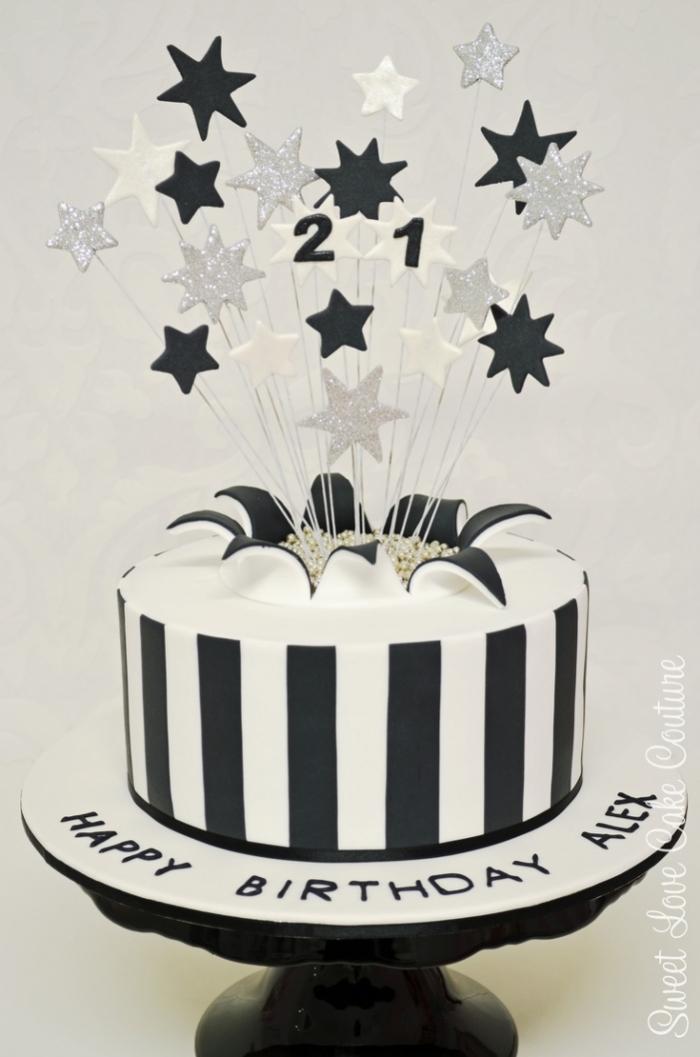 Exceptionnel Gâteau d'anniversaire noir et blanc avec des étoiles - 24/12/2017 RQ44