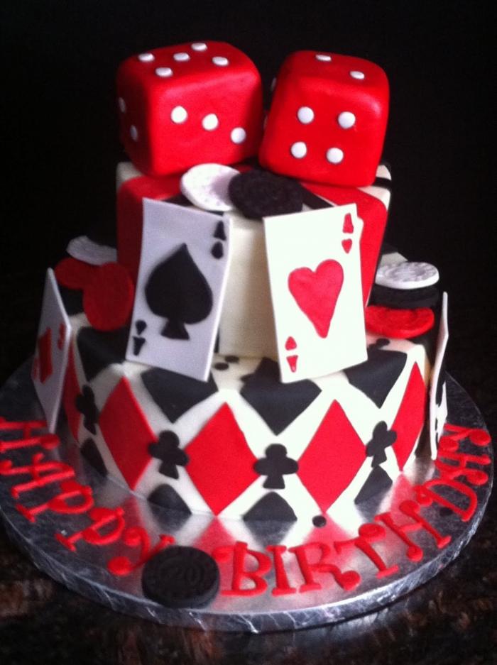 Beliebt gâteau d'anniversaire casino idées soirée à thème avec différents  SY85