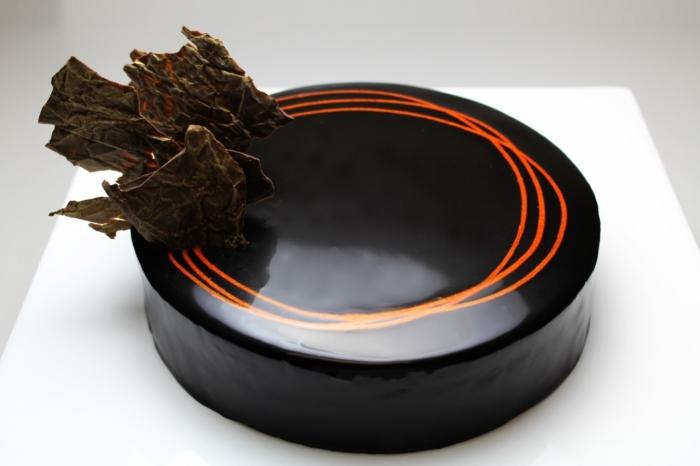 Shiny Chocolate Cake Decorations With Dark And White Chocolate