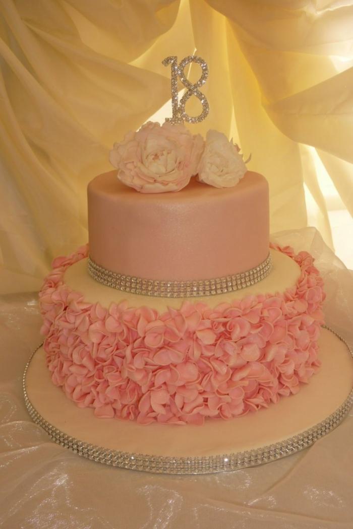 Gateau pour Fille , Idée de gâteau rose pour les 18 ans d\u0027une jeune femme  avec strass