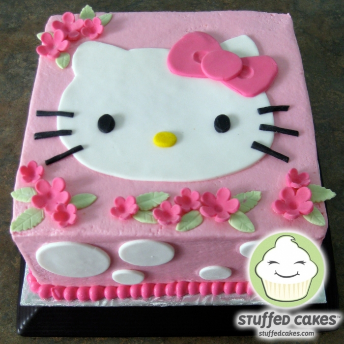 G teau avec la t te de hello kitty avec des fleurs 25 01 - Tete hello kitty ...