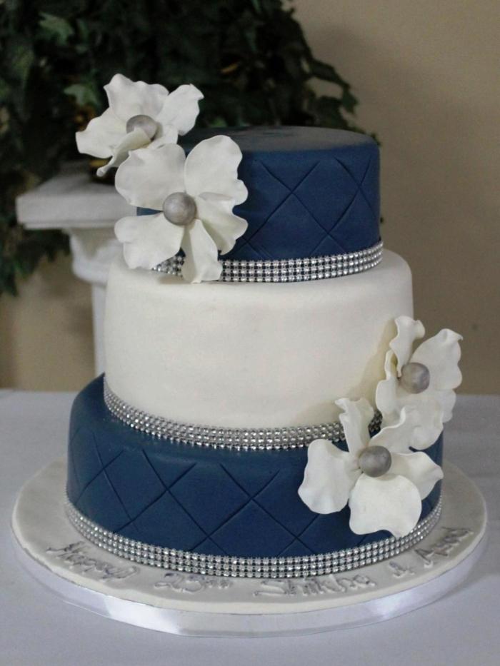 Gateau De Mariage Bleu Et Blanc