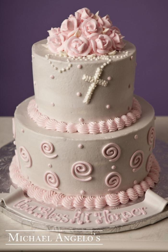Icing Cake Design For Christening : Tres beau Gateau Rose pour le bapteme de votre princesse ...