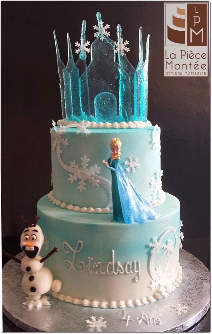 G 226 Teau De La Reine Des Neiges Avec Olaf Et Elsa Avec Son