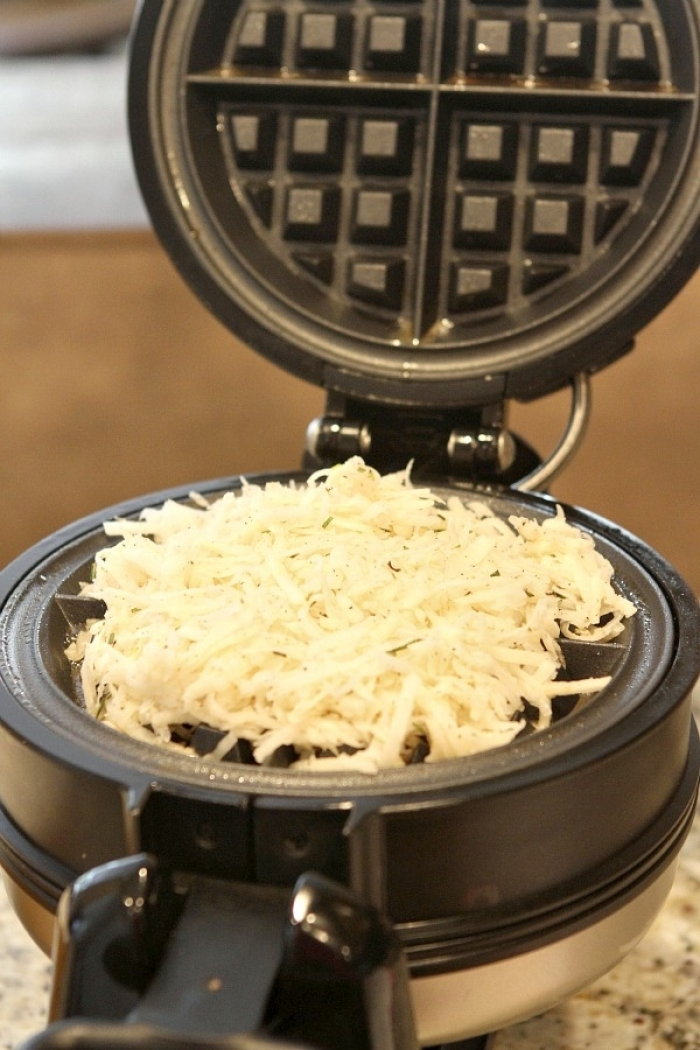 gaufre salé - Recette Gaufre Pomme de terre Lardons Fromage