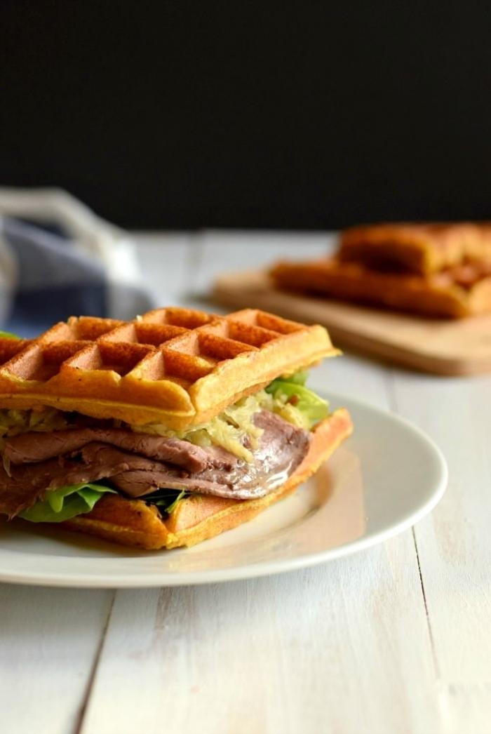 gaufre salé - Recette gaufre Sandwich Paleo