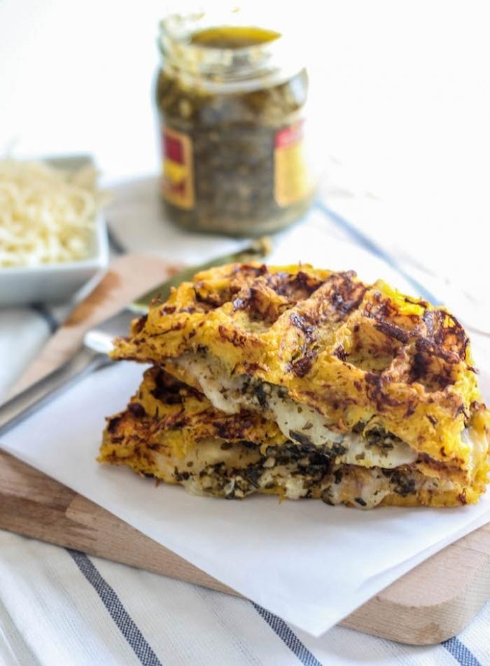 gaufre salé - Recette gaufre Spaghetti au fromage