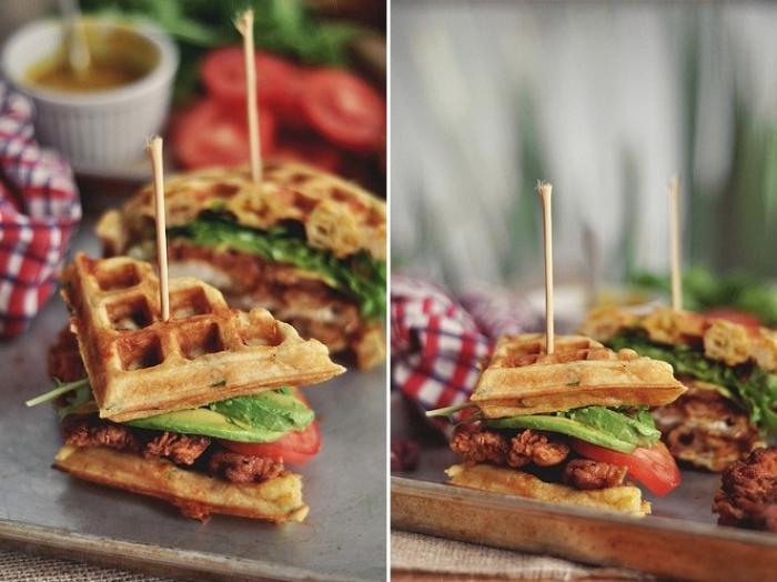gaufre salé - Recette Gaufre Sandwiche Poulet