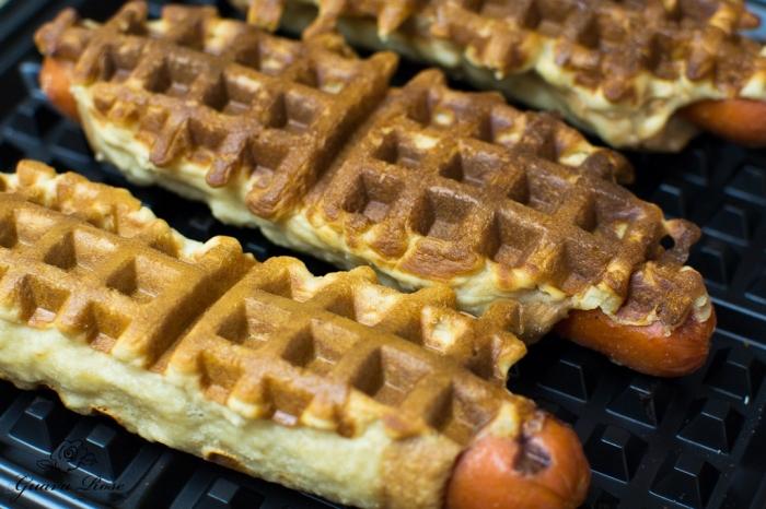 gaufre salé - Recette Gaufre Hot Dog Miel