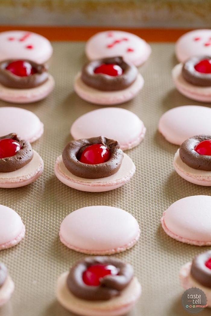 macaron - Recette Macaron Cerise Chocolat