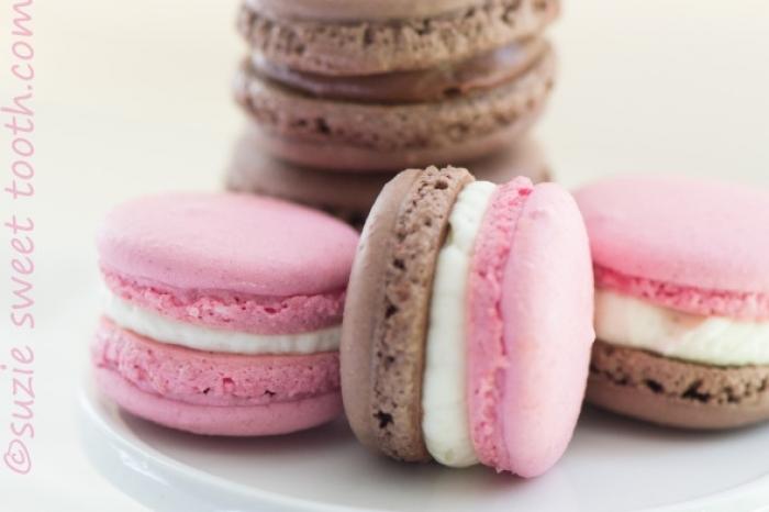 macaron - Recette Macaron Chocolat Fraise et Napolitains